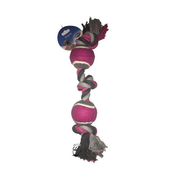اسباب بازی سگ طناب سه گره و توپ تنیس