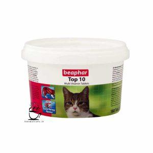 قرص مولتی ویتامین تاپ تن Top 10 بیفار مخصوص گربه 180 عددی